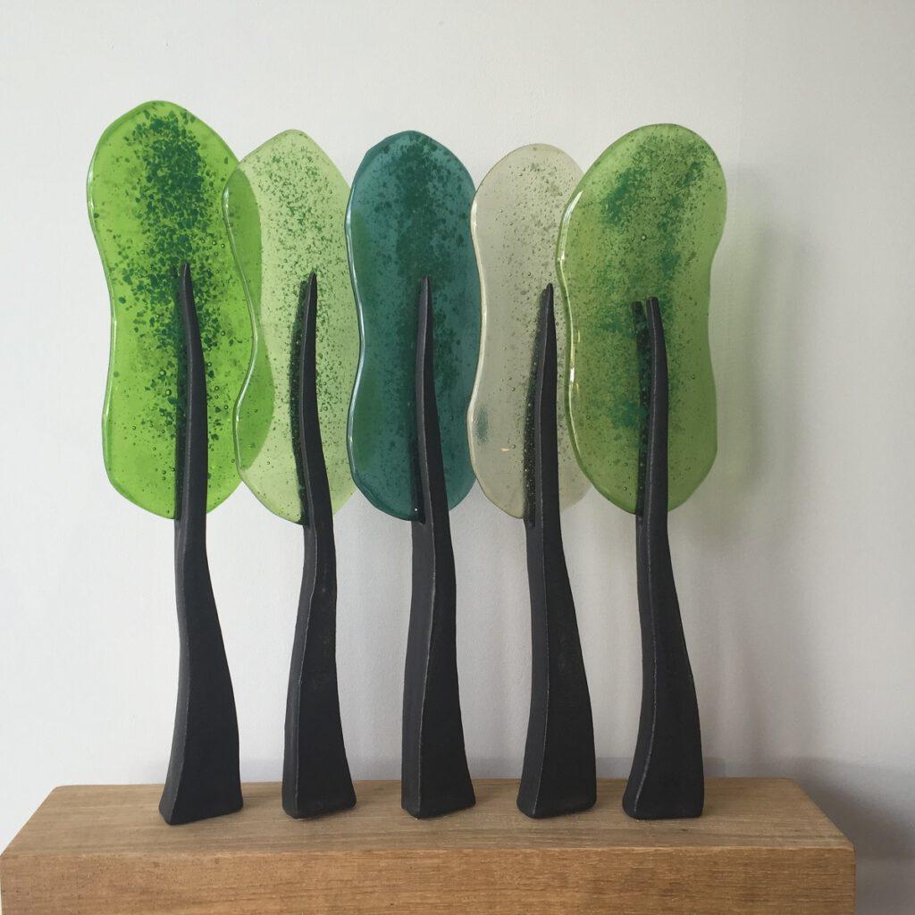 Bomen rij 5 groen - Maureen Heijdemann - Glasvaardig