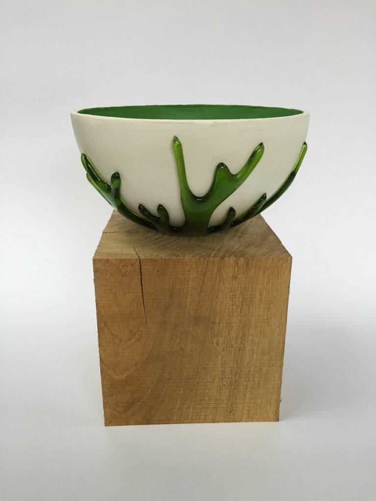 Glas/keramiek schaal groen - Maureen Heijdemann - Glasvaardig