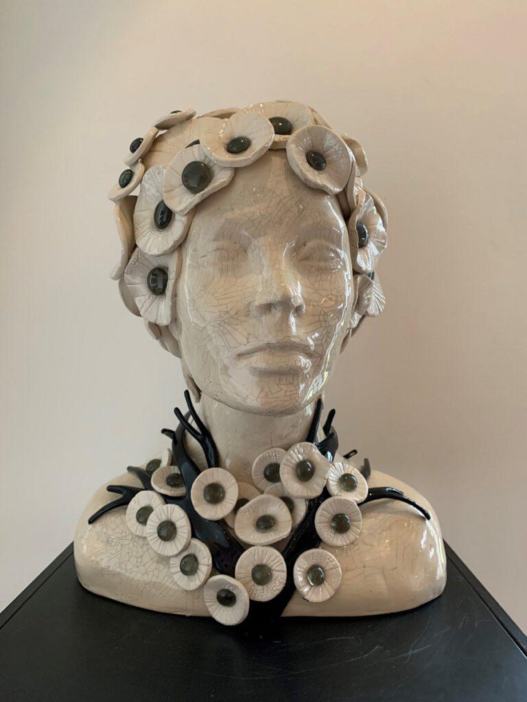 Hoofd bloemen en tak - Maureen Heijdemann - Glasvaardig