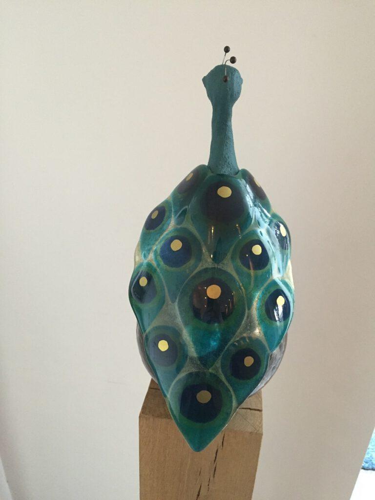 Pauw groen achterkant - Maureen Heijdemann - Glasvaardig